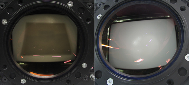 Left: Panasonic P19LUG43HKA with burned raster. Right: refurbished P19LUG43HKA as a clean tube